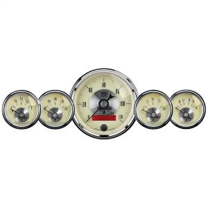 AutoMeter - AutoMeter Gauge Kit; 5 pc.; 3 3/8in./2 1/16in.; Elec. Speedo w/LCD odo; Prestige Antq. Ivo 2000