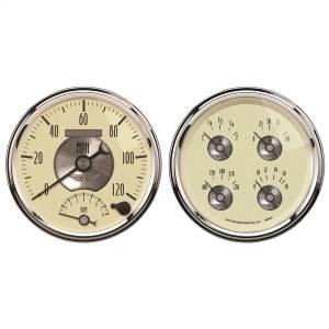 AutoMeter - AutoMeter Gauge Kit; 2 pc.; Quad/Tach/Speedo; 5in.; Prestige Antq. Ivory 2004